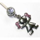 Girl Pink Crystal Dangle Pregnancy Belly Bar