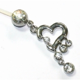 Heart & Crystals Dangle Pregnancy Belly Bar