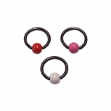 Enamel Ball Black PVD Titanium Ball Closure Ring - 1.2mm