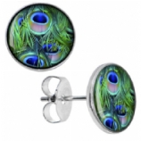 Peacock Feathers Logo Surgical Steel Ear Studs Earrings - Pair