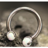 IN STOCK - White - IS Titanium Circular Barbell With Faux Pal Ends