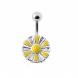 Enamel Sunflower Sterling Silver Belly Bar