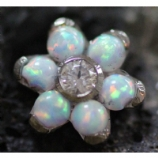 Anatometal Flower Attachment - White Opal