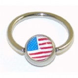 American Flag Logo Ball Closure Nipple Ring