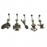 Plain Skull Design Dangle Belly Piercing Bar