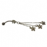 Skull Chains Design Dangle Belly Piercing Bar