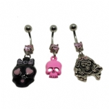 Girly Skull Design Dangle Belly Piercing Bar