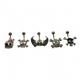 Plain Skull Design Non-Dangle Belly Piercing Bar
