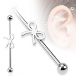 Silver Bow Ribbon Scaffold Barbell