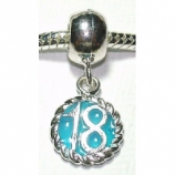 Blue 18 Birthday - Single Bead