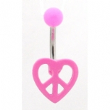 Heart Peace Sign Neon Acrylic Belly Bar