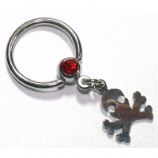 Skull & Bones Dangle Ball Closure Nipple Ring