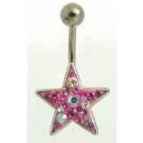 Multi Crystal Star Sterling Silver Belly Bar