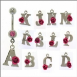 Pink Rose Initial Letter Dangle Belly Bar