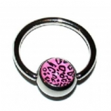 Leopard Print Logo Ball Closure Nipple Ring