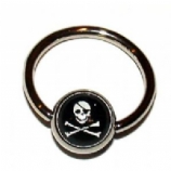 Skull & Crossbones Logo Ball Closure Nipple Ring