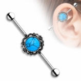 Turquoise & Filigree Frame Scaffold Industrial Barbell