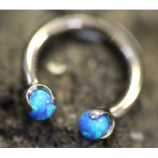 IN STOCK - Blue - IS Titanium Circular Barbell With Faux Pal Ends