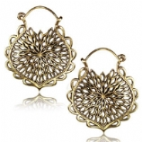 Brass Mandala Boho Hoop Ear Rings - Pair