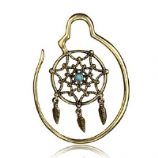 Brass Ear Weight - Dreamcatcher with Turquoise - 2mm