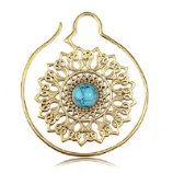 Brass Ear Weight - Mandala with Turquoise - 1.2mm