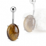 Oval Tigers Eye Semi-Precious Stone Belly Bar