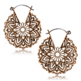 Copper Flower Mandala Boho Hoop Ear Rings - Pair