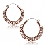 Copper Heart Boho Hoop Ear Rings - Pair