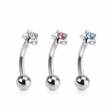 Star Top Crystal Curved Micro Barbell - 1.2mm