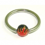 Flames Print Colourful Bead Ball Closure Ring