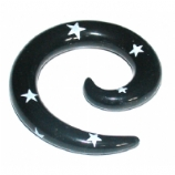 Black Star Print Acrylic Ear Hook Spiral