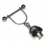 Black Eye Skull Dangle Stirrup Nipple Shield & Bar