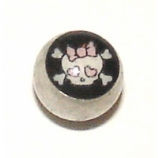 Girlie Skull Logo Ball For 1.6mm Body Bars