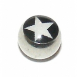 Black & White Star Logo Ball For 1.6mm Body Bars