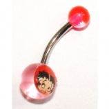 Betty Boop UV Logo Belly Piercing Bar