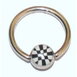 Chequered Logo Ball Closure Nipple Ring
