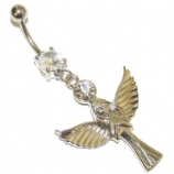 Large Angel Dangle Belly Piercing Bar