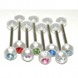 UV Clear Acrylic Crystal Gem Ball Titanium Tongue Bar