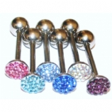 Crystal Encrusted Discoball Tongue Bar
