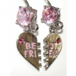 Best Friends Heart Dangle Belly Piercing Bars Set