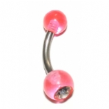 UV Coloured Balls Crystal Curved Barbell For Vertical Hood Piercing