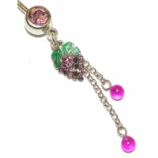 Diamante Crystal Grapes & Beads Dangle Belly Piercing Bar