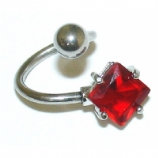 Red Square Crystal Belly Piercing Spiral