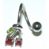 Red & Green Crystal Cherry Belly Piercing Spiral