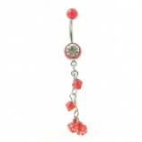 UV Dangly Dice Colourful Belly Piercing Bar