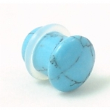 Synthetic Turquoise Stone Single Flared Bullet Plug 3mm - 14mm