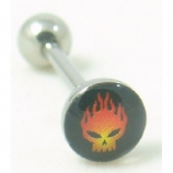 Burning Skull Logo Tongue Piercing Bar