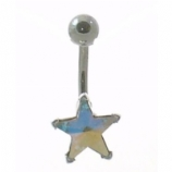 Star Crystal Titanium Belly Piercing Bar