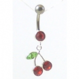 Cherry Red Crystal Titanium Dangle Belly Piercing Bar