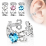 Prong Set Crystal Clip On Fake Helix Ear Cuff